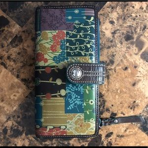 Fossil patchwork wallet checkbook style
